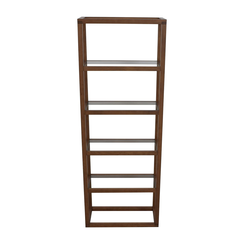 buy Crate & Barrel Oak Wood Veneer and Glass Five-Story Bookshelf Crate and Barrel Bookcases & Shelving