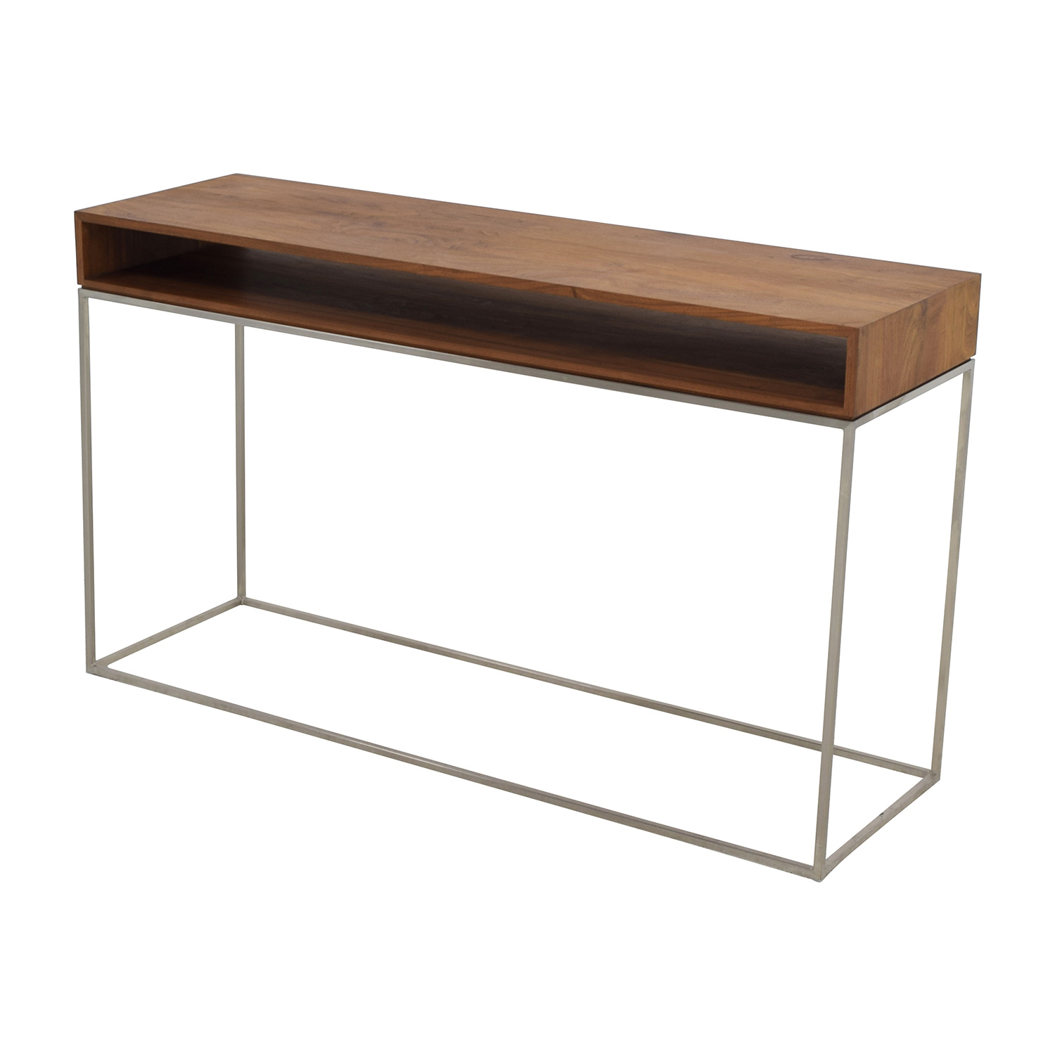 ... CB2 CB2 Wood And Metal Frame Console Table Brown ...