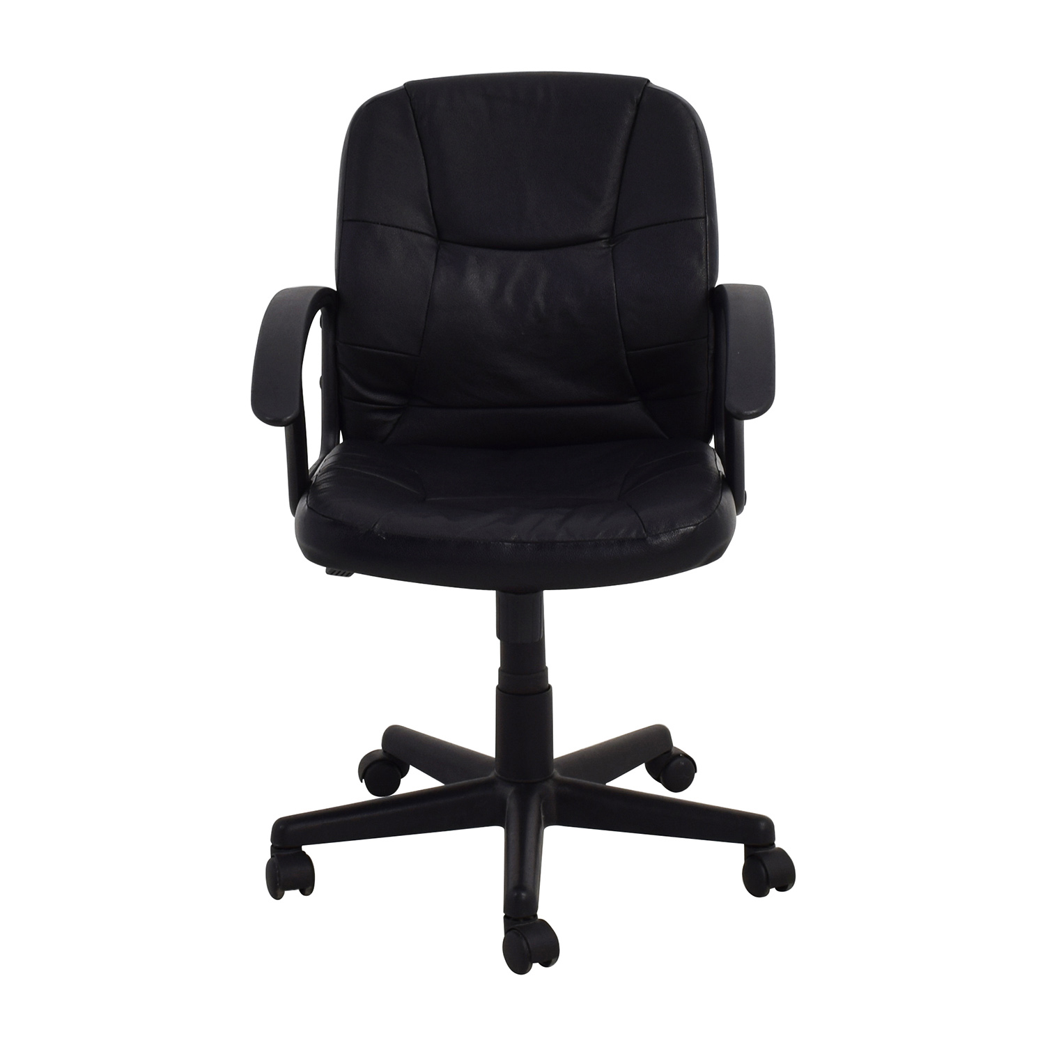 shop Black Leather Adjustable Desk Chair Home Office Chairs