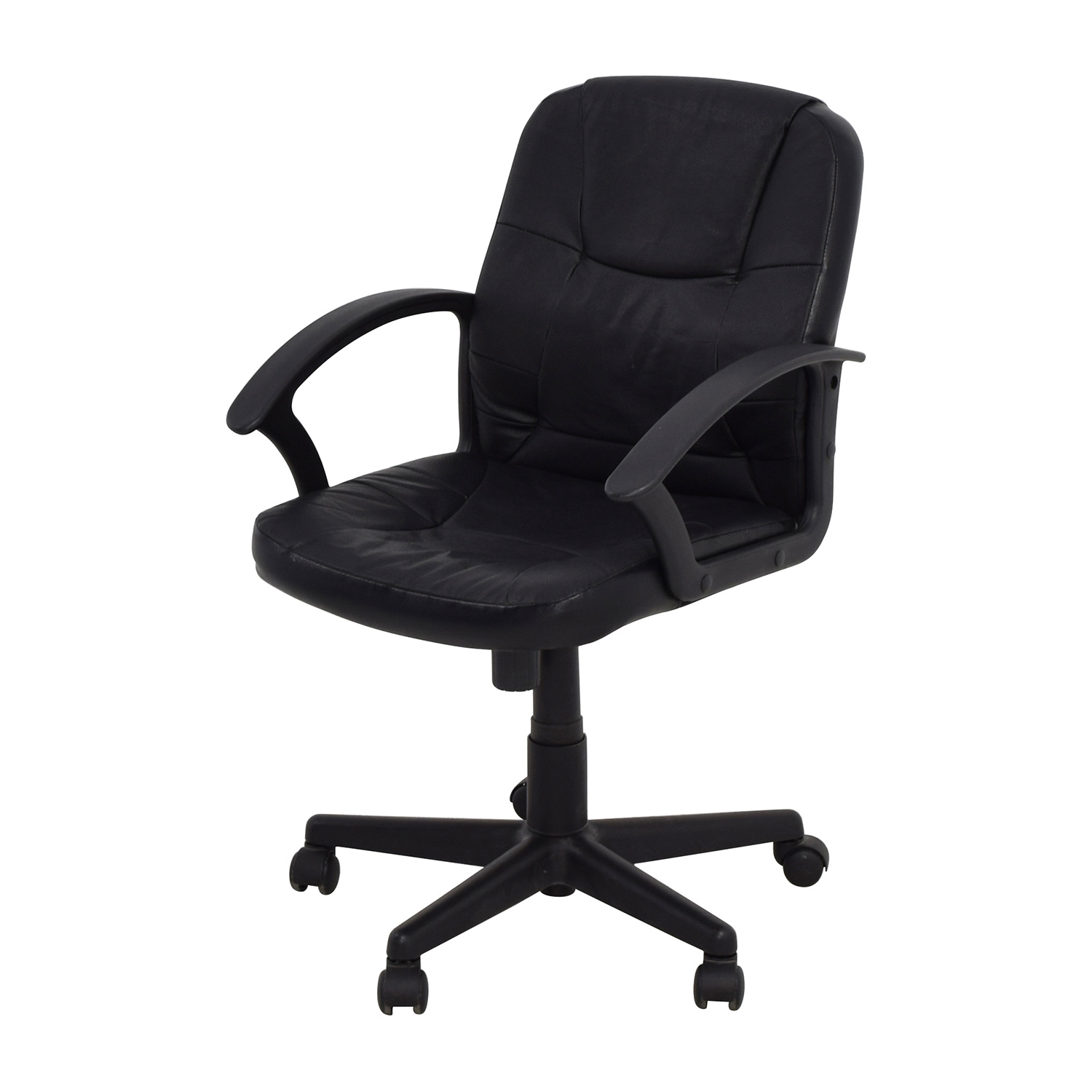 75 Off Black Leather Adjustable Desk Chair Chairs