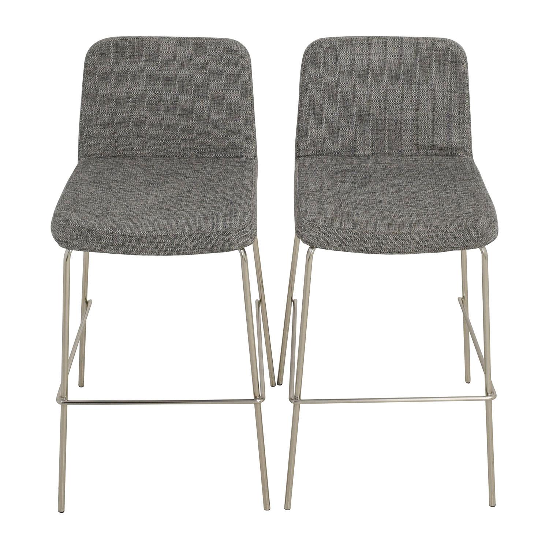 shop CB2 Charlie Bar Black and White Bar Stools CB2 Dining Chairs