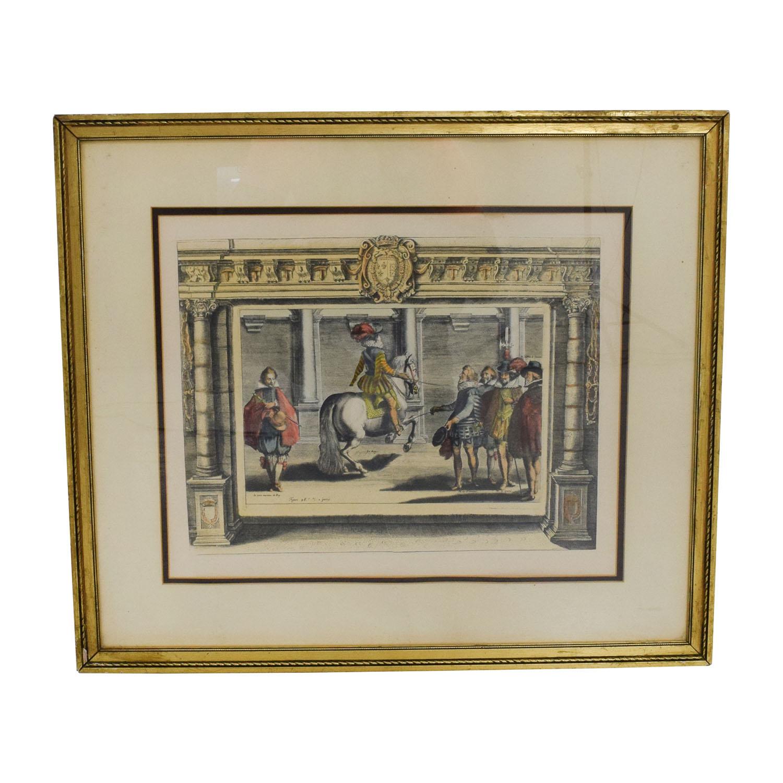 French Vintage Equestrian Print nj