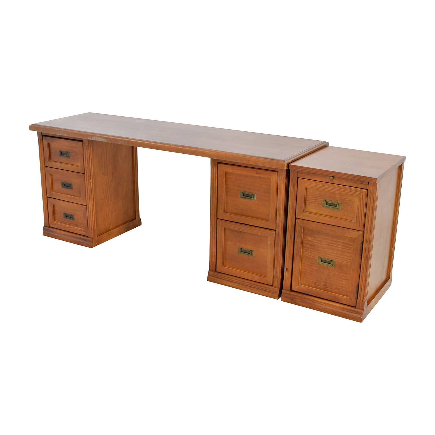 64 unkown large wood desk with three filing cabinets tables