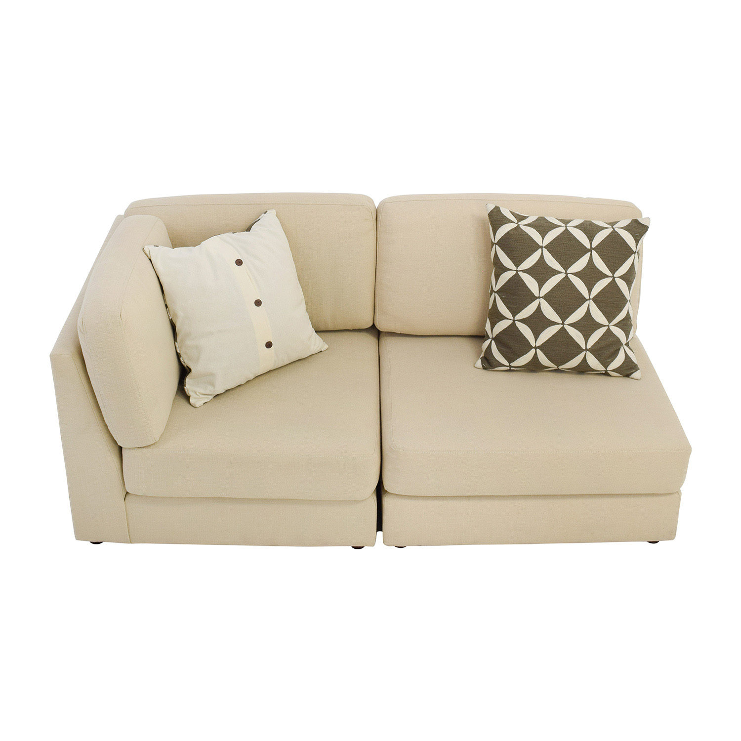 shop West Elm West Elm Cream Chaise Sofa or Two Chairs online