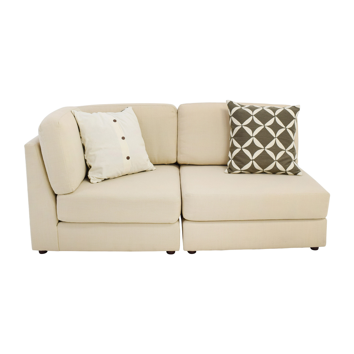 West Elm Cream Chaise Sofa or Two Chairs West Elm