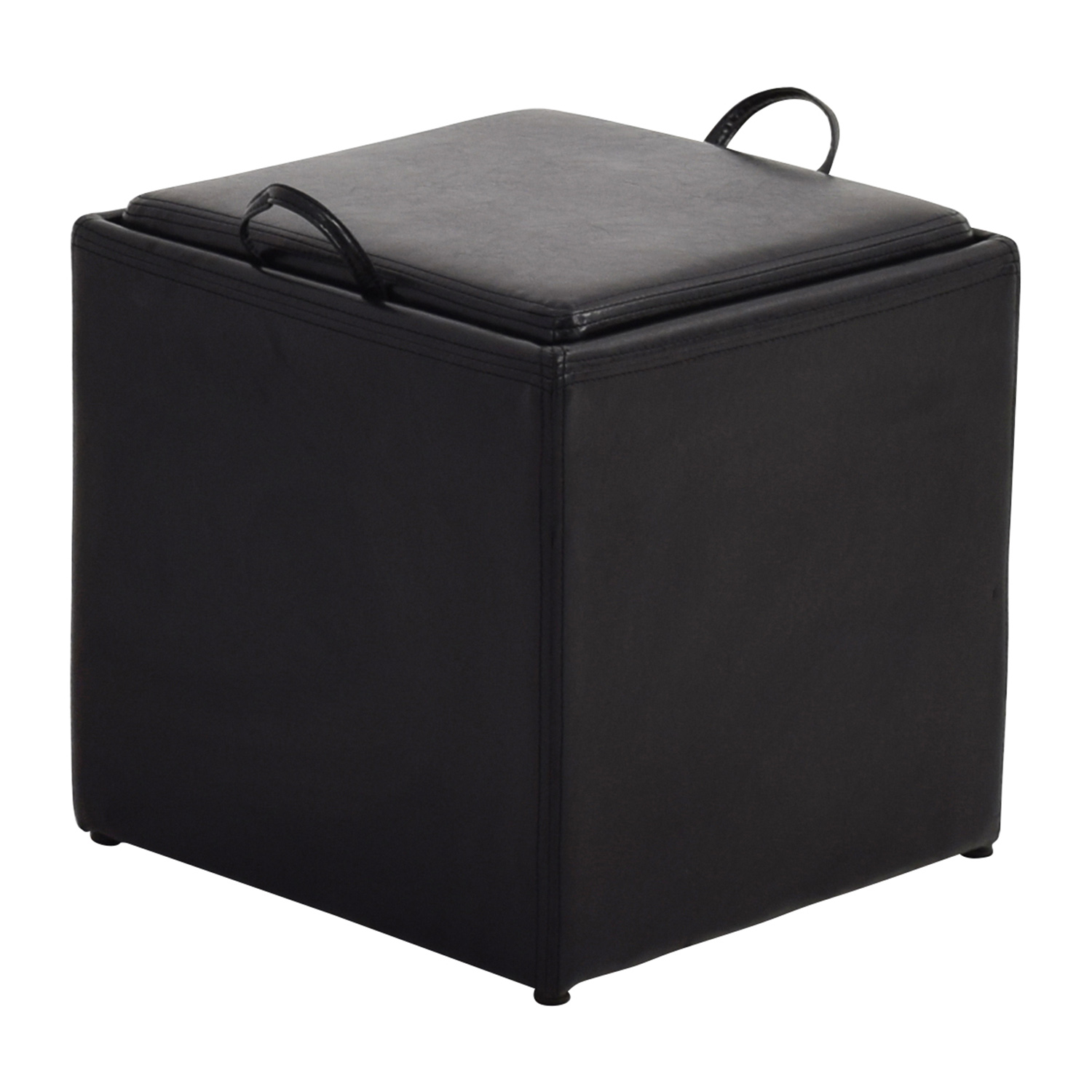 Black Leather Storage Ottoman with Smaller Ottoman Chairs