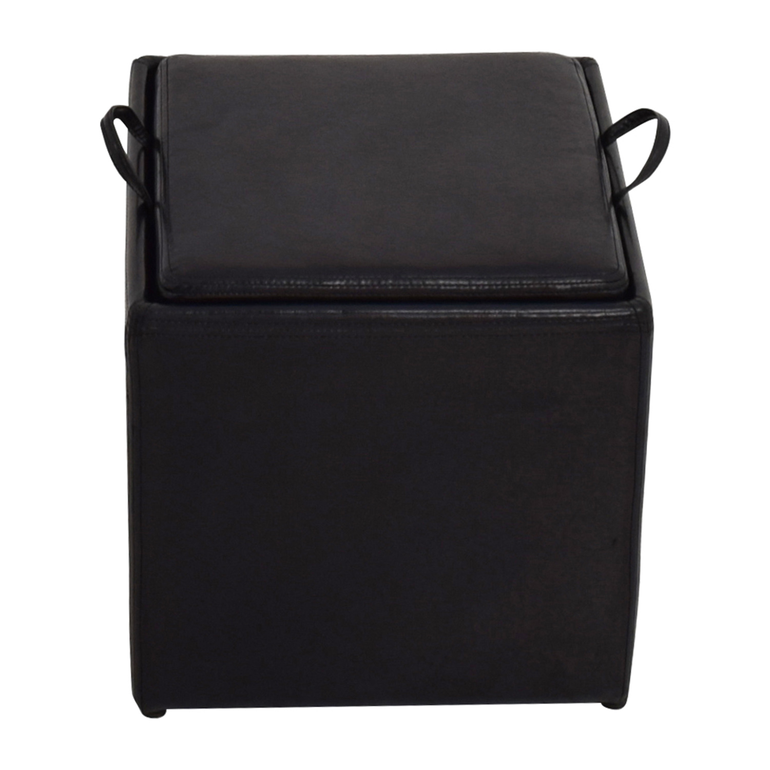 Black Leather Storage Ottoman With Smaller Nyc