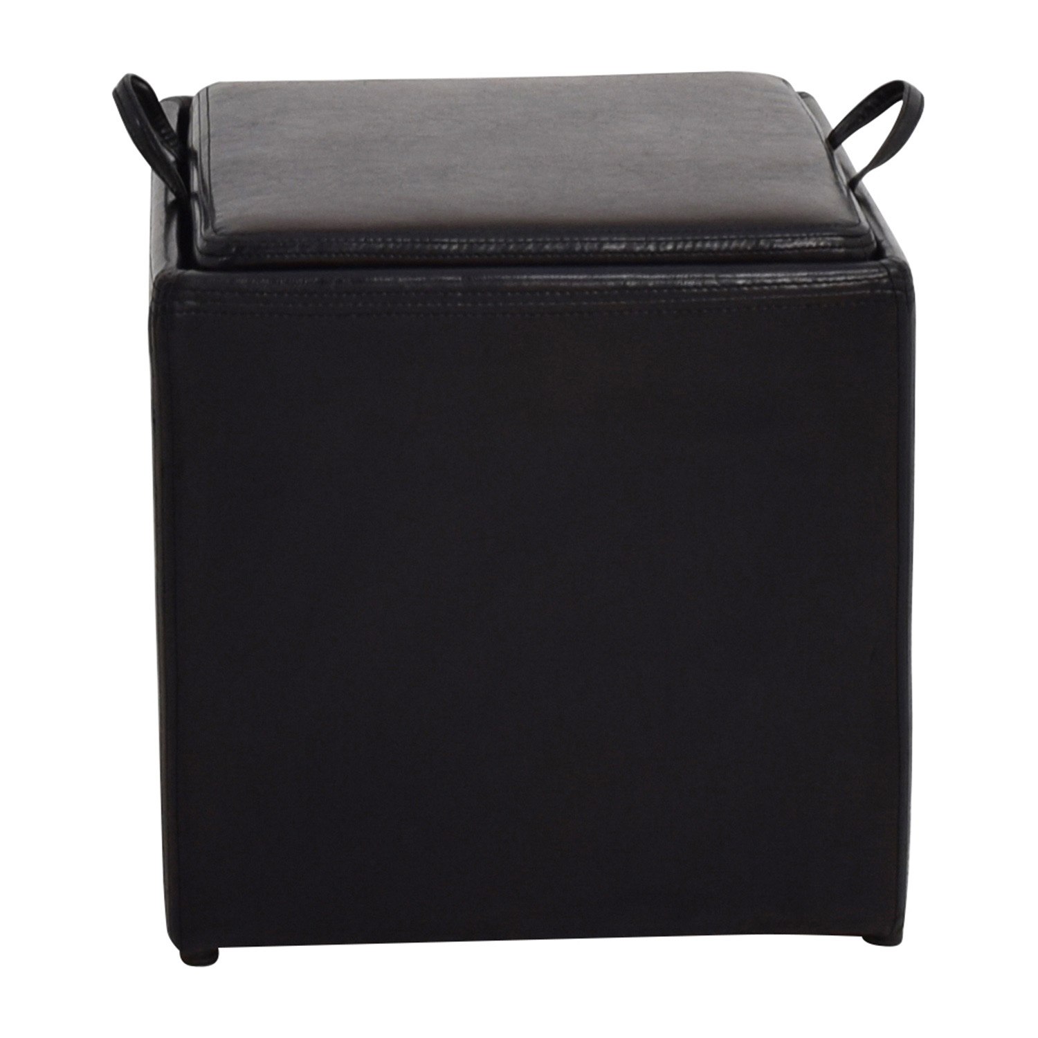 Black Leather Storage Ottoman With Smaller Ottoman Price ...