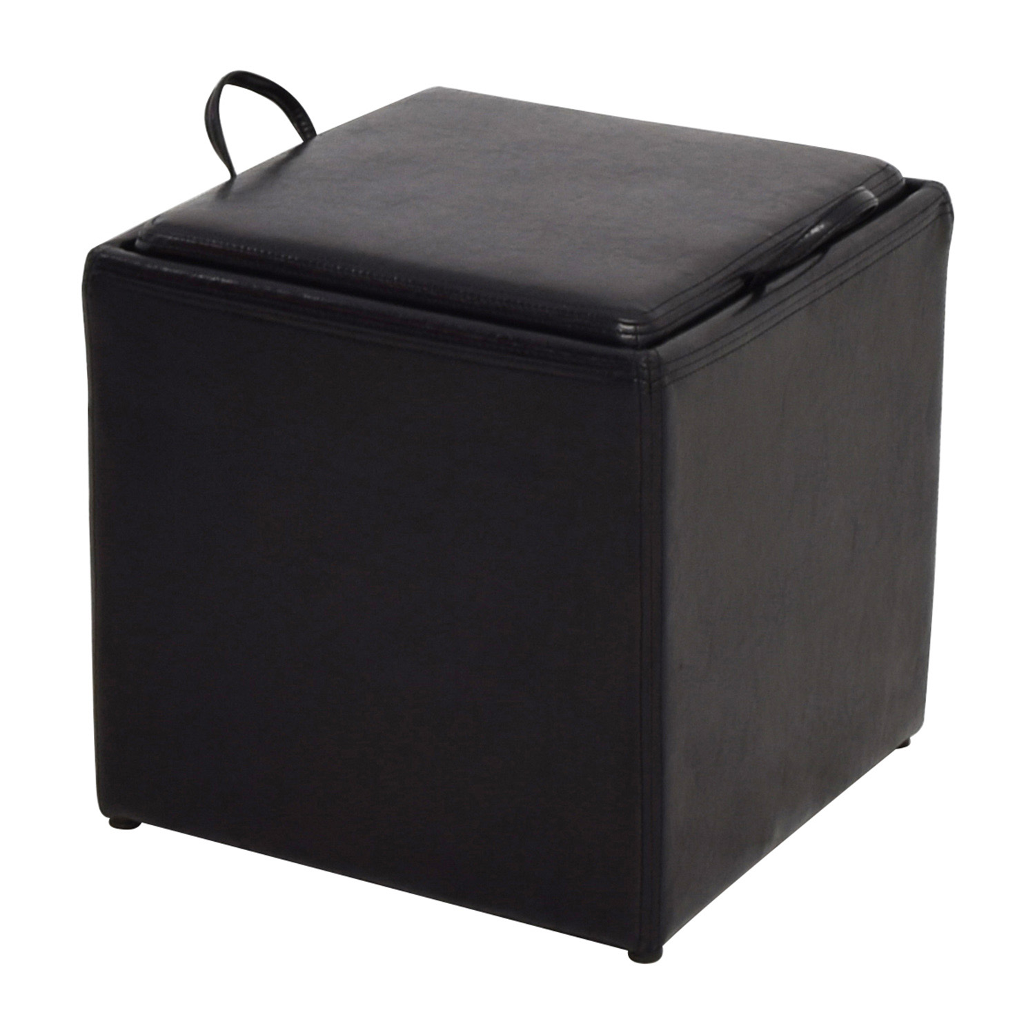 ... Shop Black Leather Storage Ottoman With Smaller Ottoman Online ...