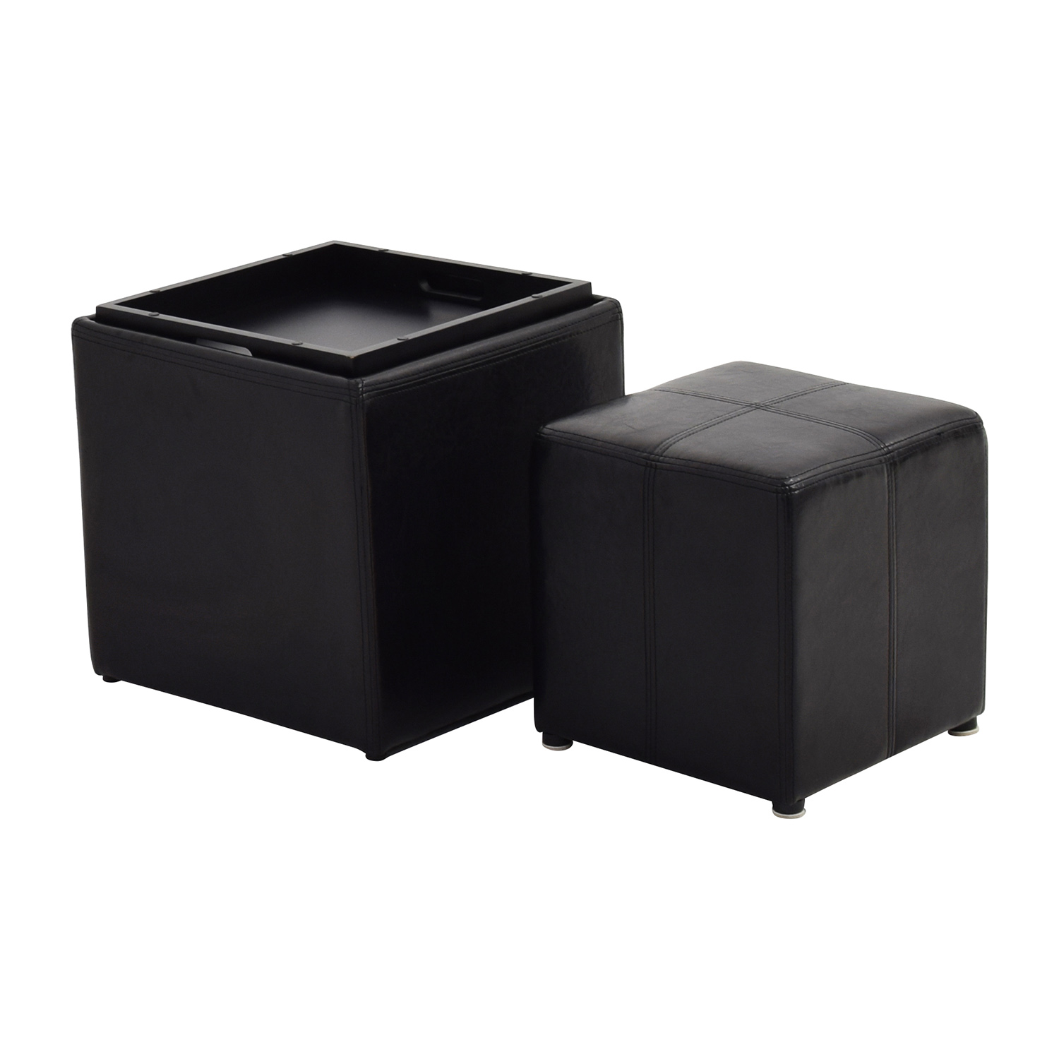 70 Off Black Leather Storage Ottoman With Smaller