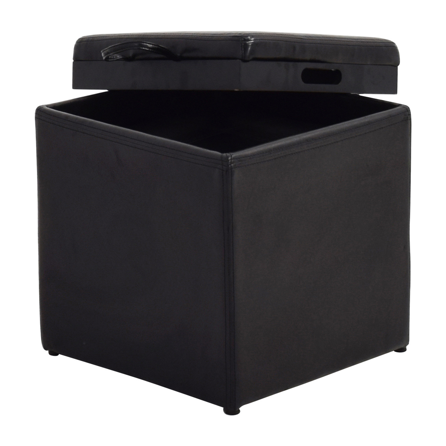 buy Black Leather Storage Ottoman with Smaller Ottoman Chairs
