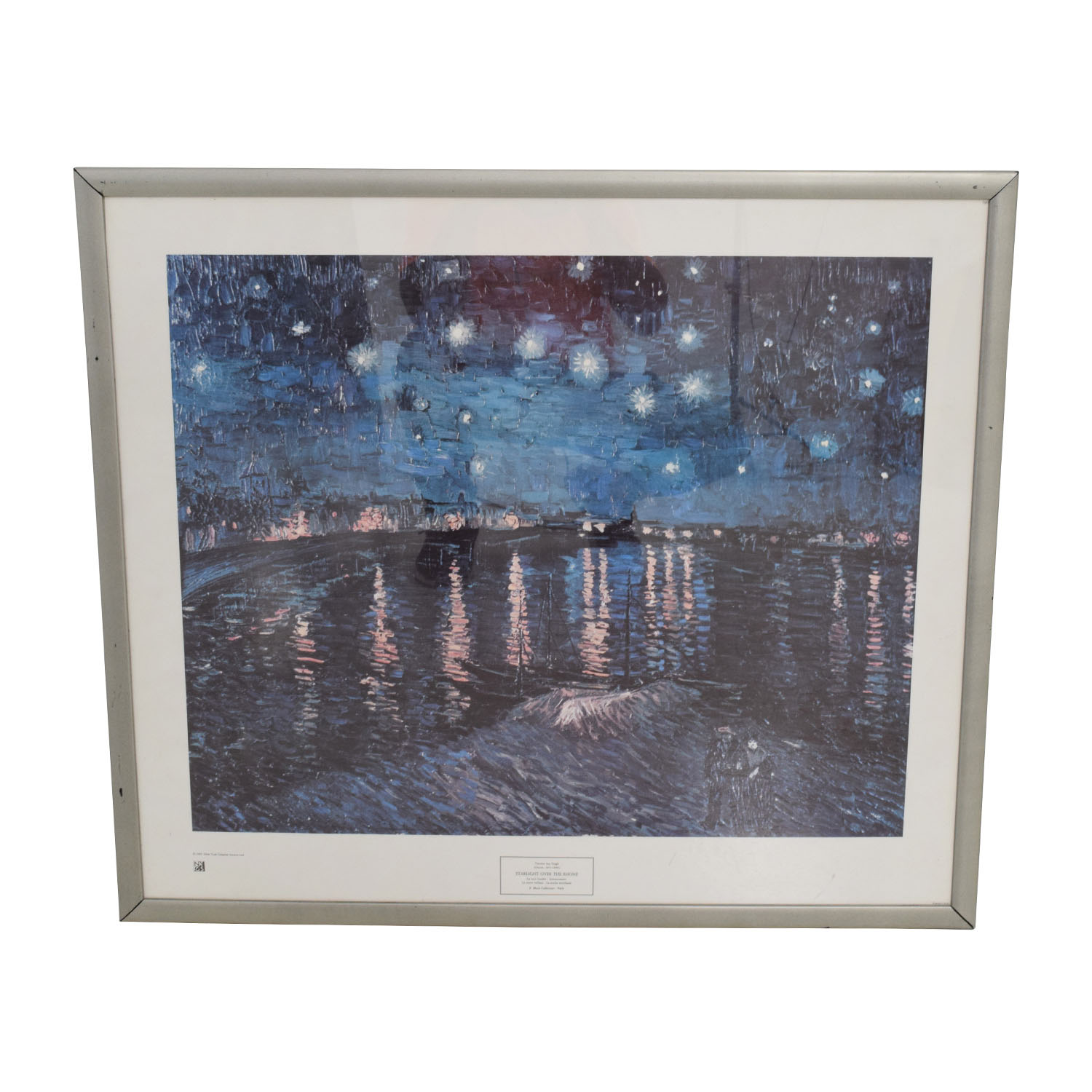 Van Gogh Starry Night over the Rhone with Silver Frame / Decor