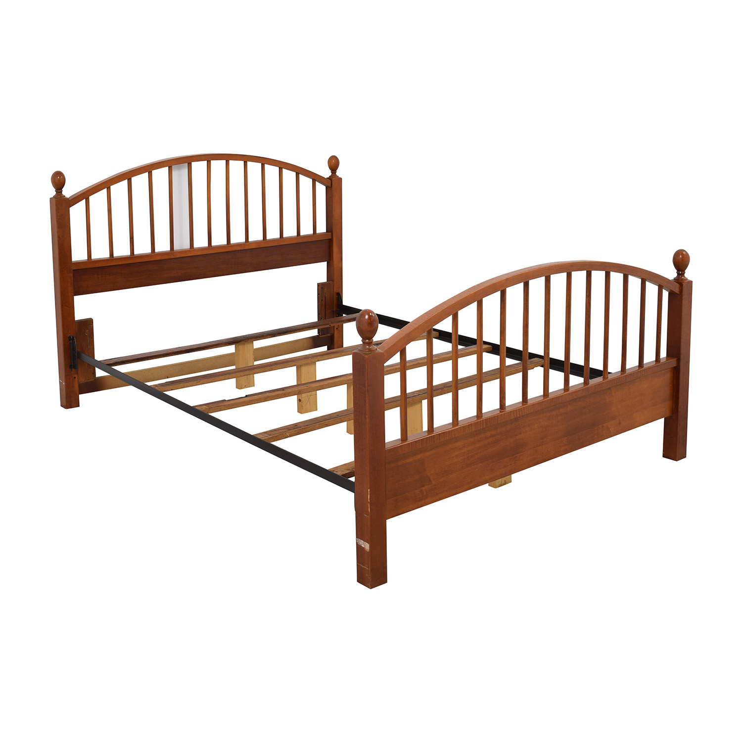 77 Off Solid Oak Caged Queen Bed Frame Beds
