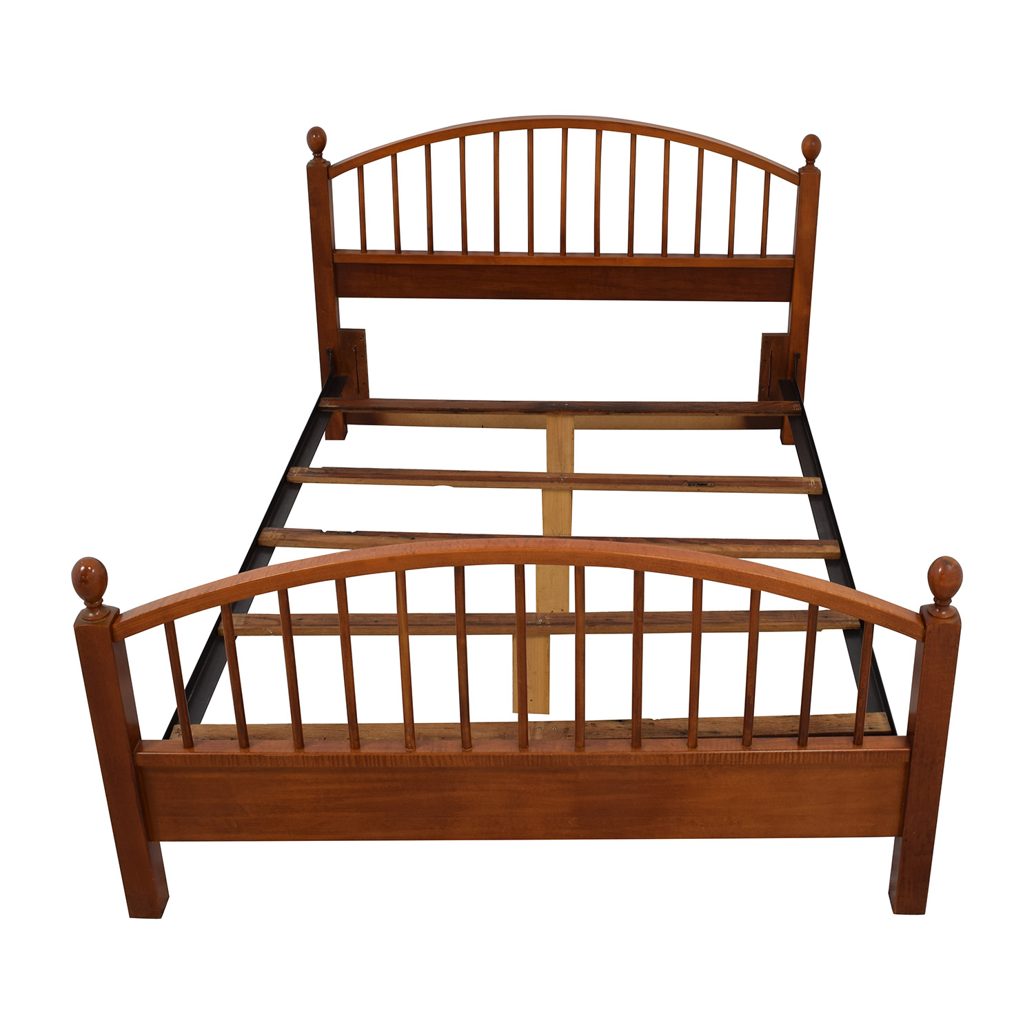 Solid Oak Caged Queen Bed Frame for sale