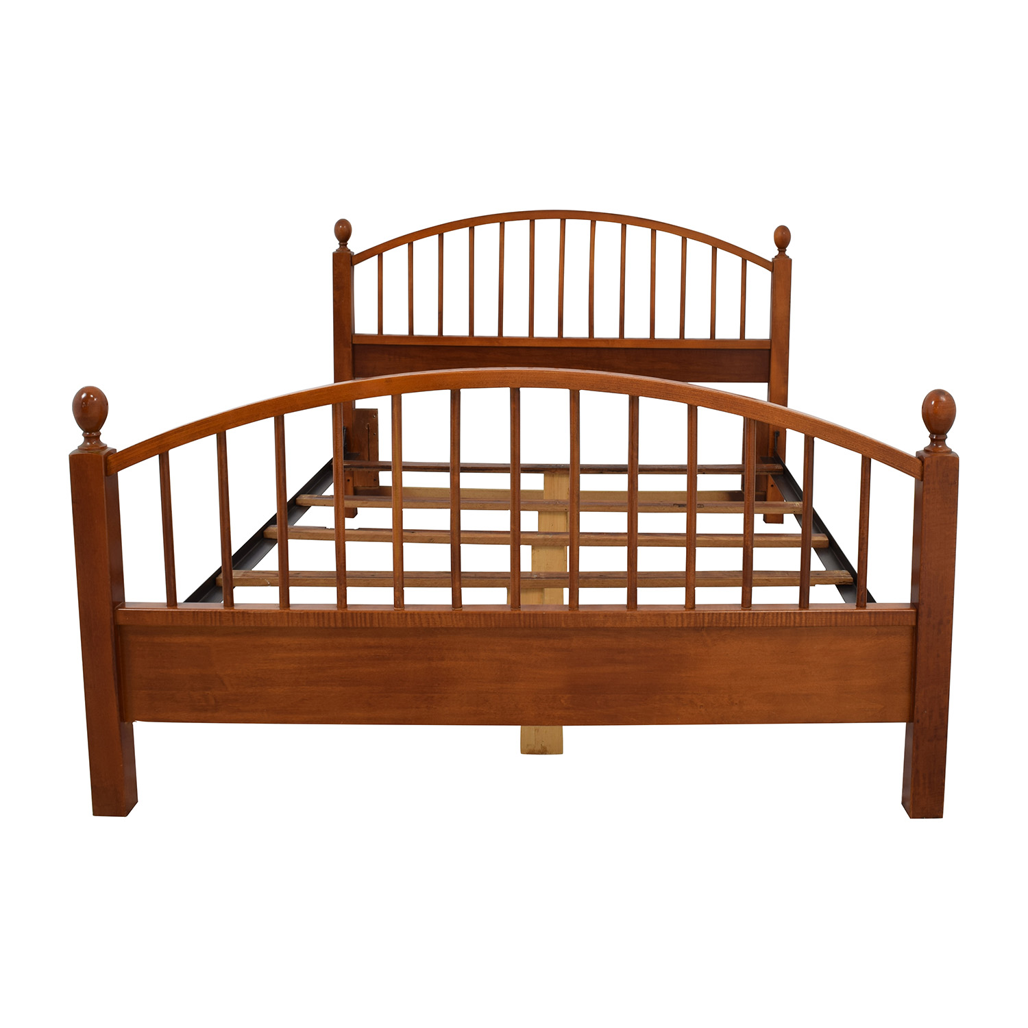 Solid Oak Caged Queen Bed Frame used