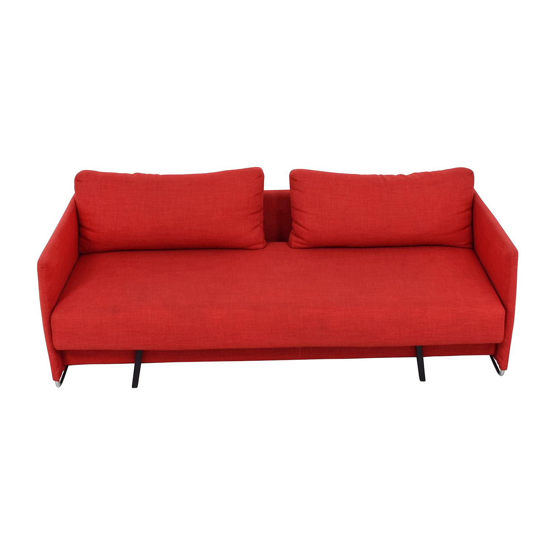 74% OFF - CB2 CB2 Tandom Red Sleeper Sofa / Sofas