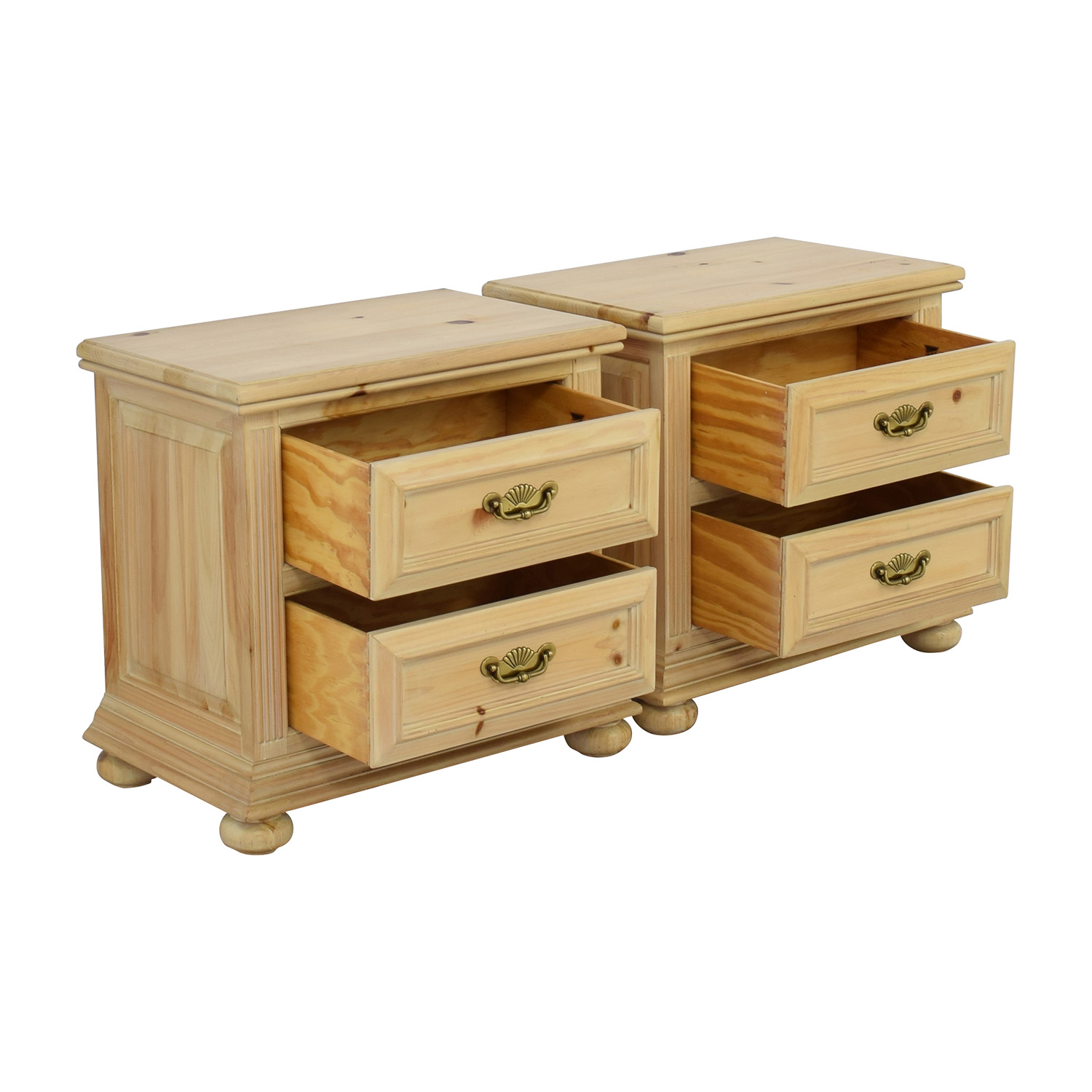 Link Taylor Natural Wood Two Drawer Night Stands