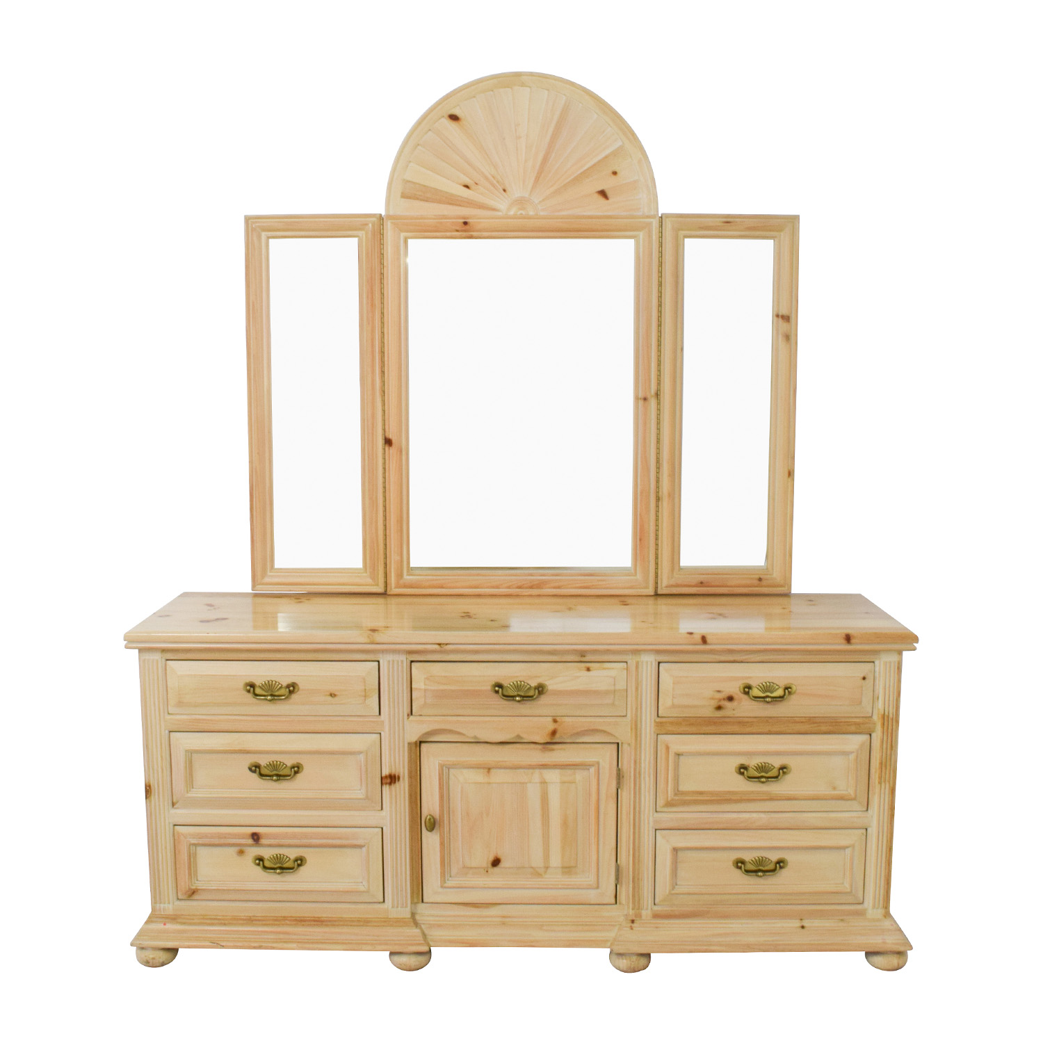 Link Taylor Link Taylor Natural Seven-Drawer Dresser with Mirror