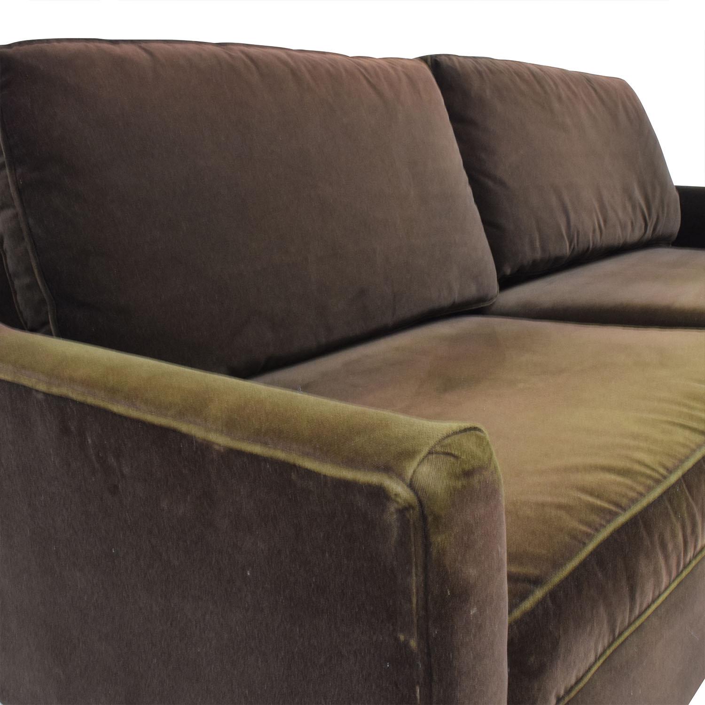 79 Off Dark Brown Velvet Two Cushion Sofa Sofas