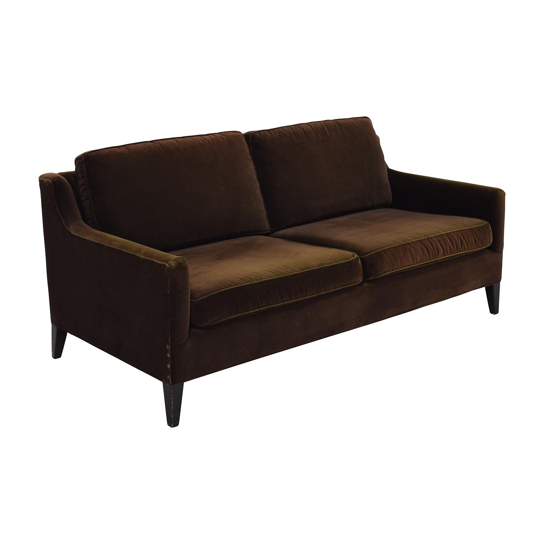 Dark Brown Velvet Two Cushion Sofa coupon