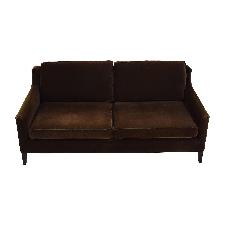 shop Dark Brown Velvet Two Cushion Sofa online