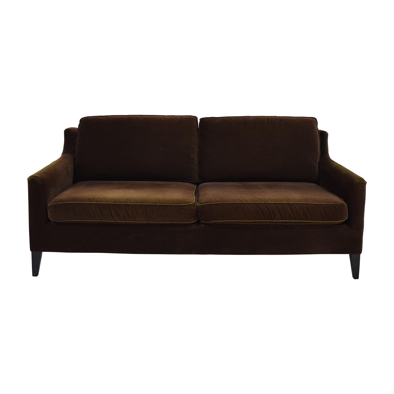 Dark Brown Velvet Two Cushion Sofa brown