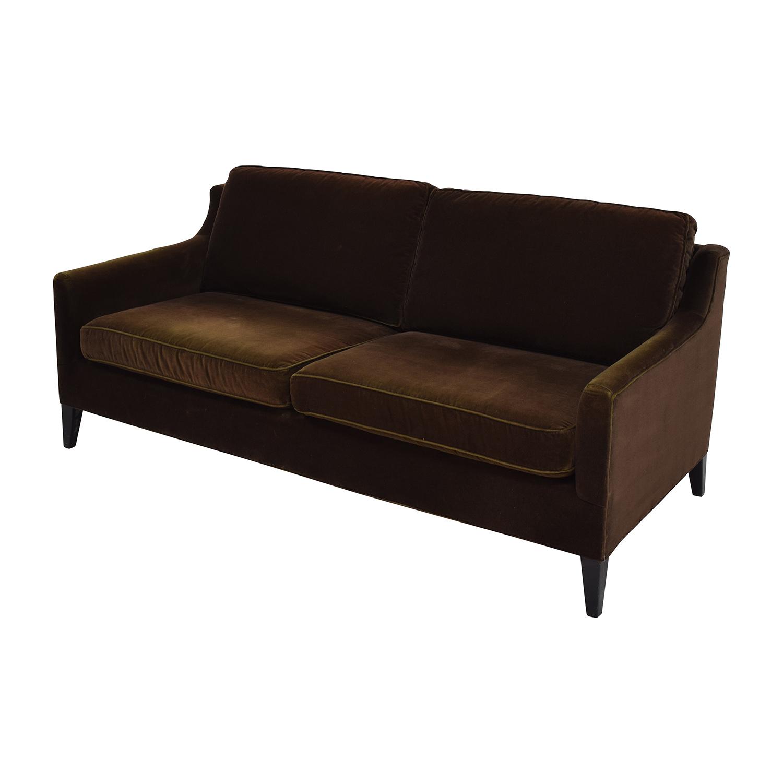 Dark Brown Velvet Two Cushion Sofa for sale