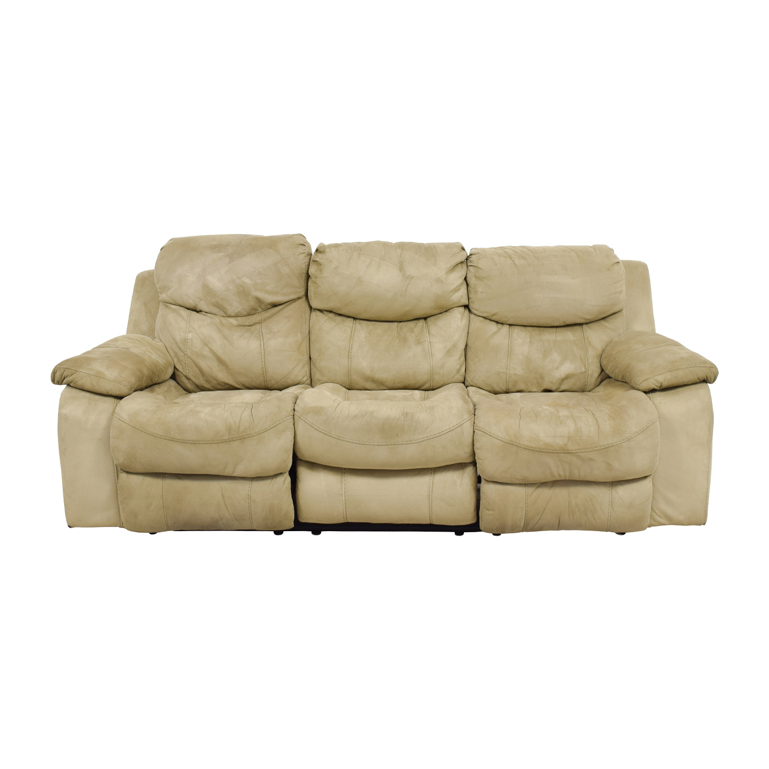 Bobs Furniture Bobs Furniture Beige Dual-Reclining Gliding Sofa discount