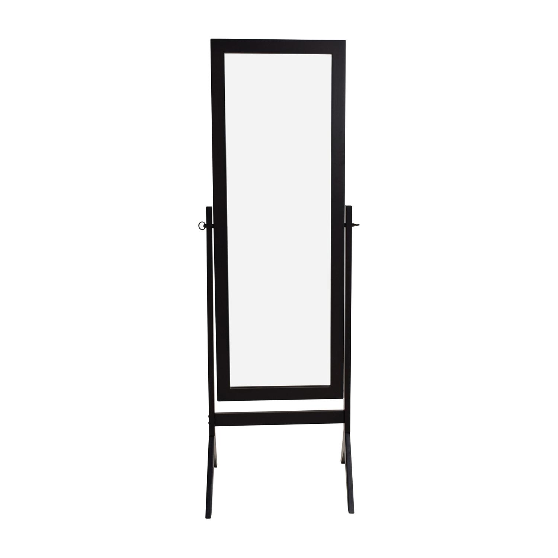 Brown Wood Swing Floor Mirror Decor