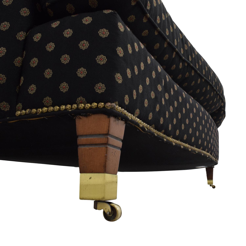 shop Century Furniture Loveseat in Black and Gold Medallion Print Century Furniture Classic Sofas