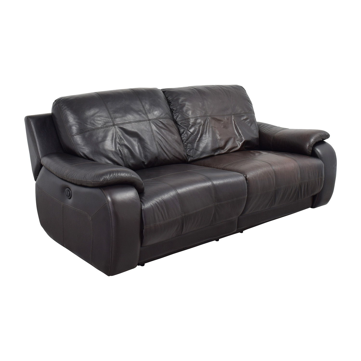 ... Raymour And Flanigan Raymour And Flanigan Espresso Leather Power Recliner  Sofa On Sale ...