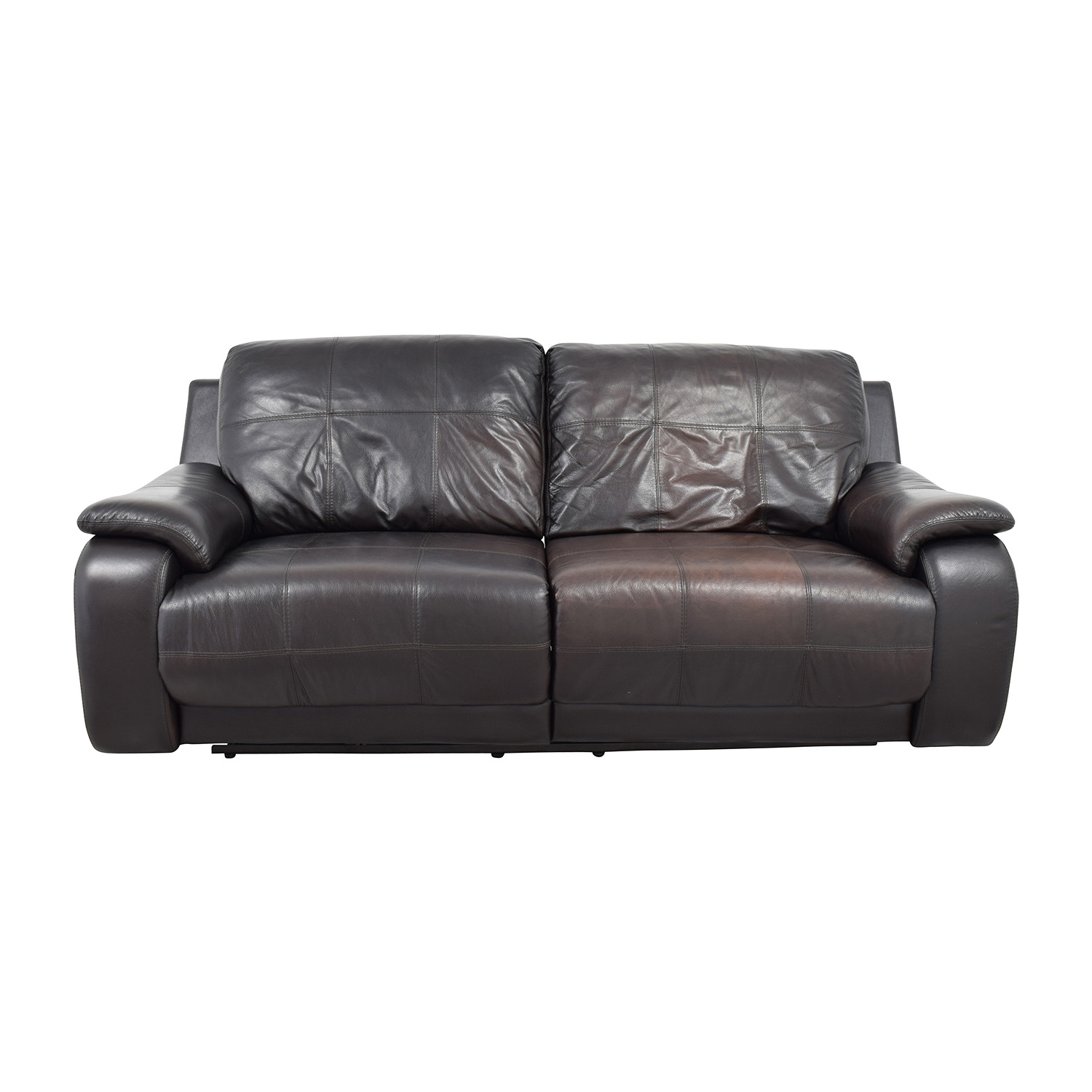 Raymour and Flanigan Raymour and Flanigan Espresso Leather Power Recliner Sofa coupon