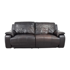 Raymour and Flanigan Espresso Leather Power Recliner Sofa sale