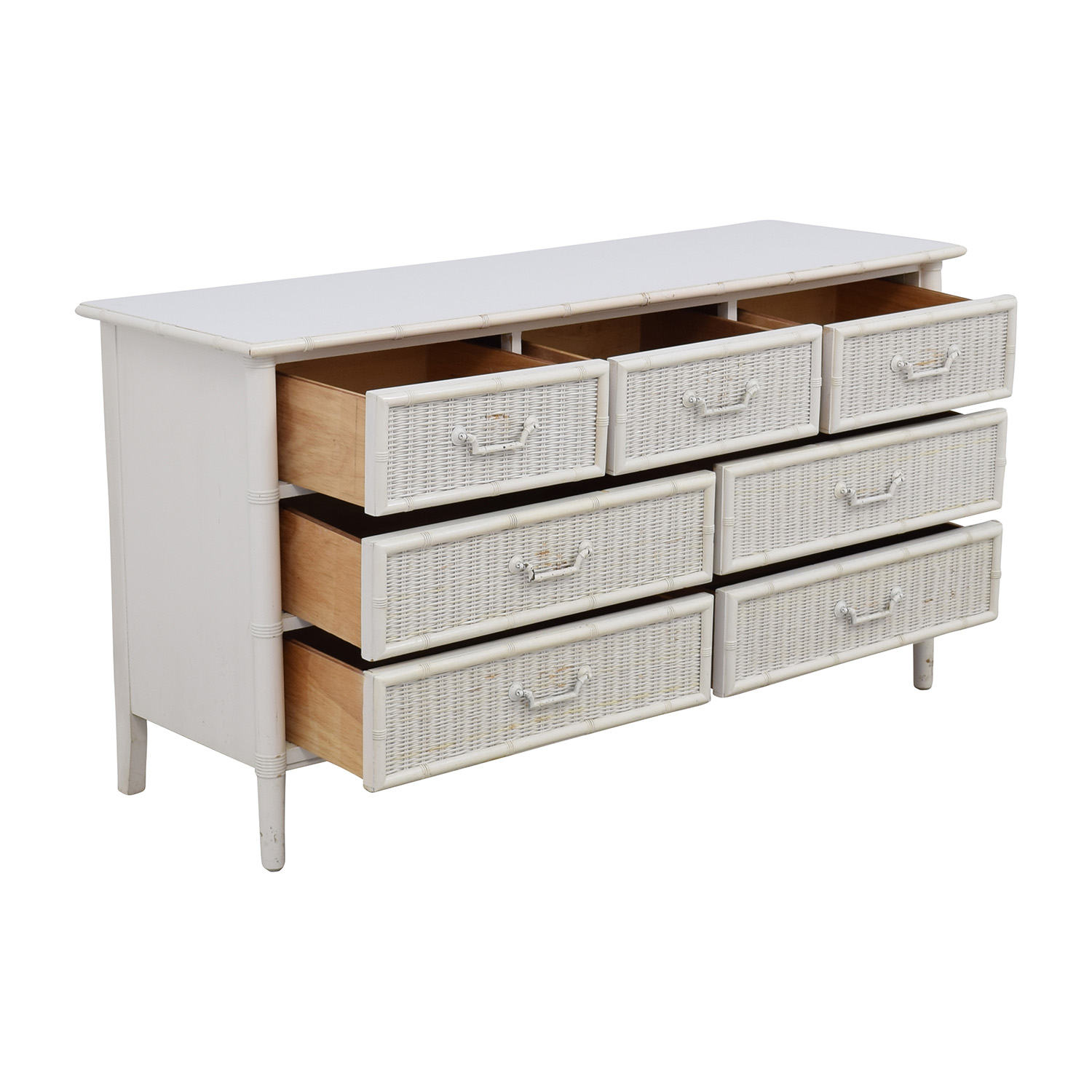 63% OFF - Dixie Furniture Company Dixie Vintage White Seven-Drawer Wicker  Dresser / Storage