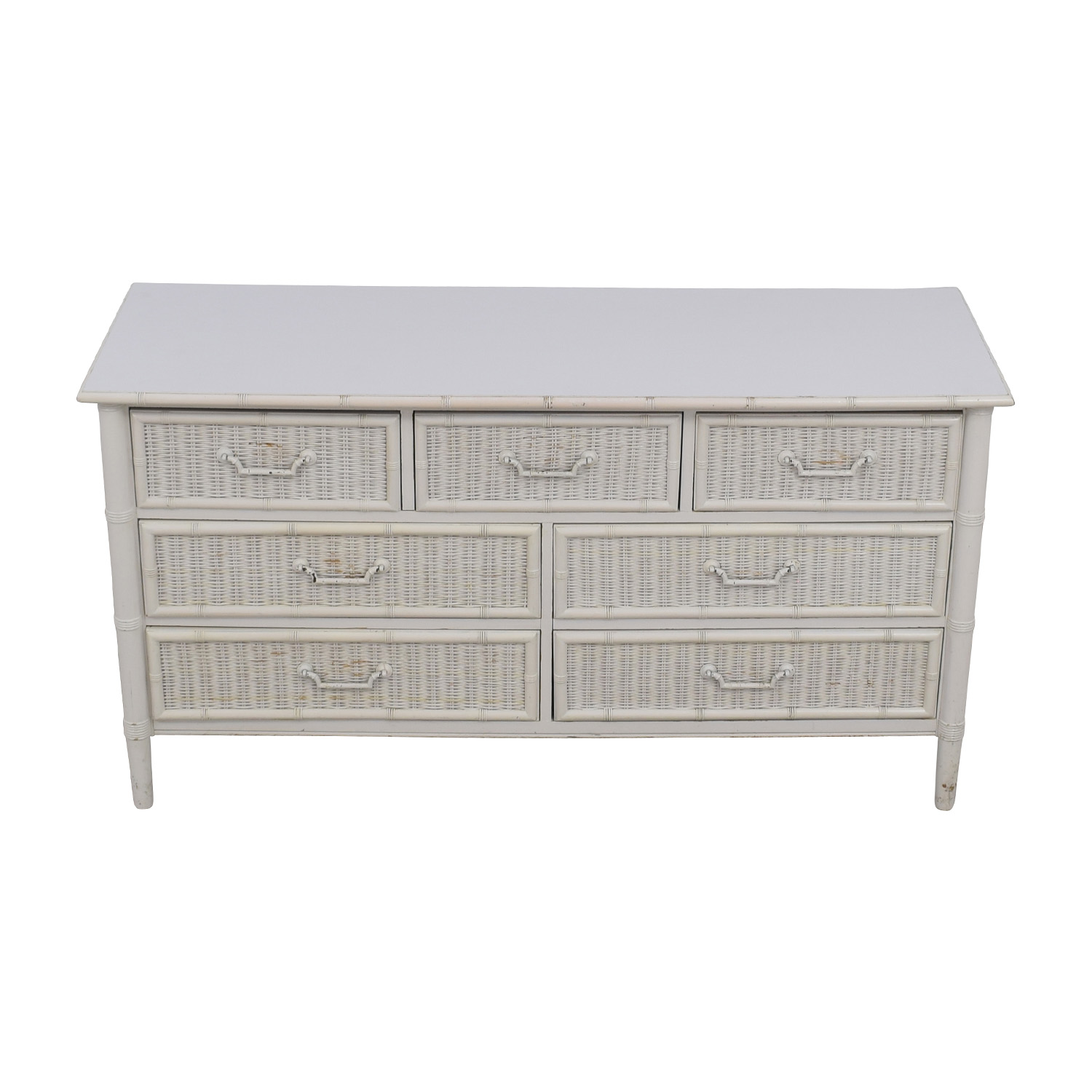 Dixie Dixie Vintage White Seven-Drawer Wicker Dresser Storage