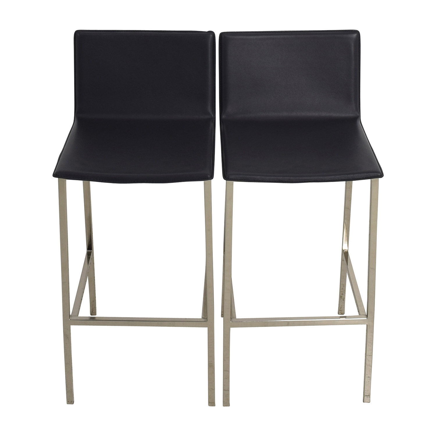 shop CB2 Phoenix Carbon Grey Black Leather Bar Stools CB2