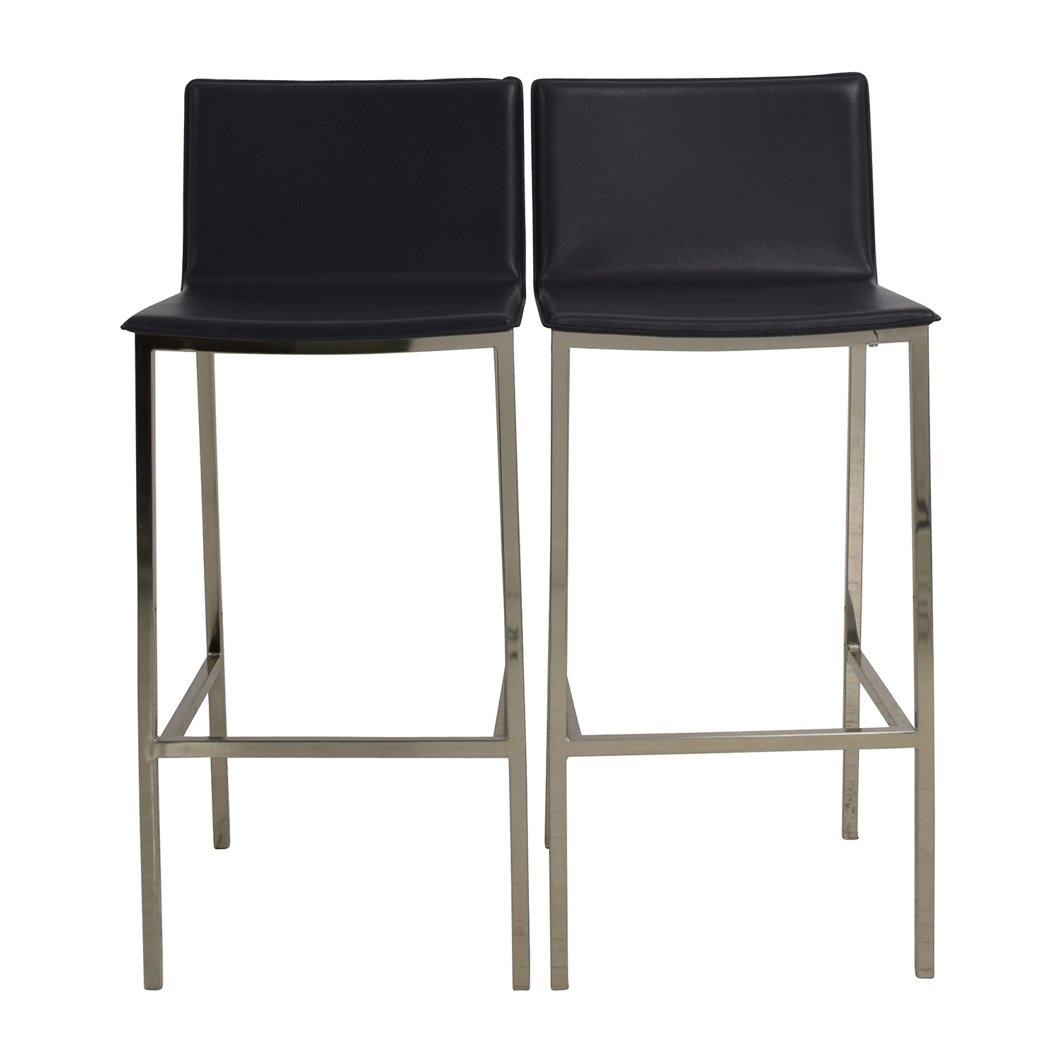 CB2 CB2 Phoenix Carbon Grey Black Leather Bar Stools used