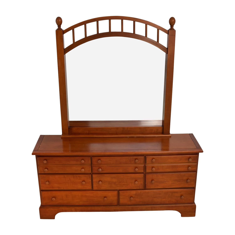 buy Nine Drawer Oak Dresser with Caged Mirror