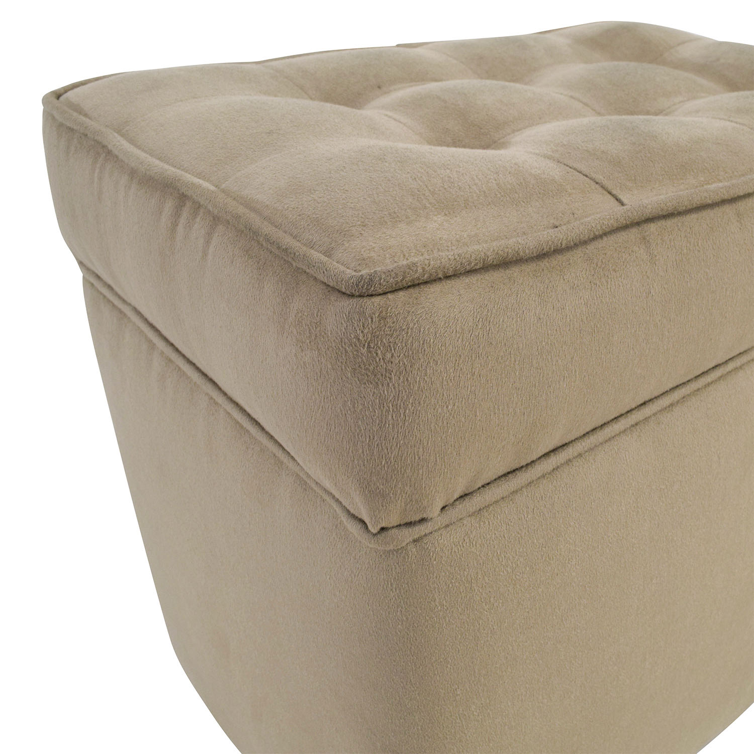 80 Off Beige Tufted Ottoman With Storage Chairs