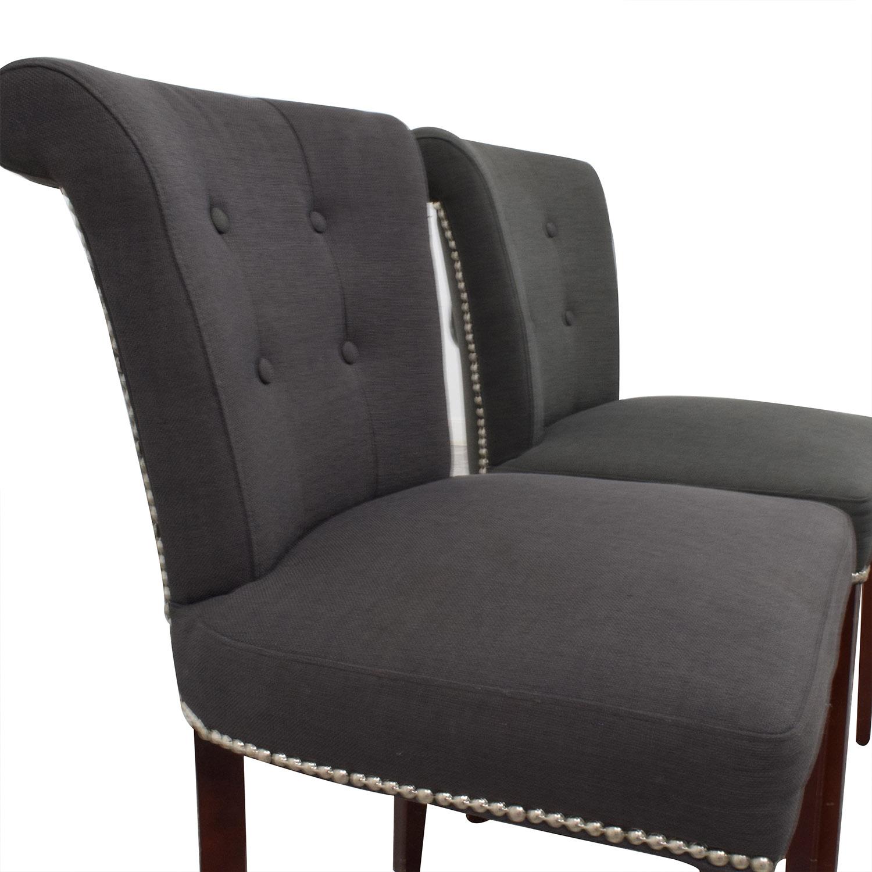 ... Safavieh Safavieh En Vogue Sinclair Charcoal Nailhead Ring Chairs Used  ...