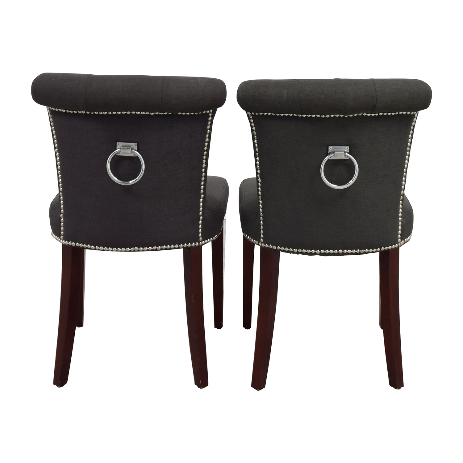 shop Safavieh En Vogue Sinclair Charcoal Nailhead Ring Chairs Safavieh Chairs