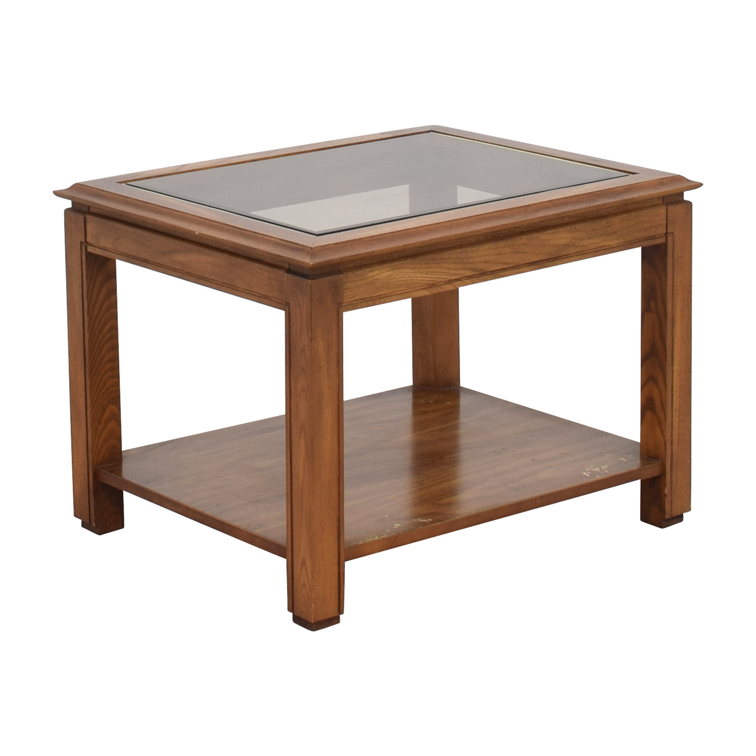 80 Off Walnut And Glass Rectangular Coffee Table Tables