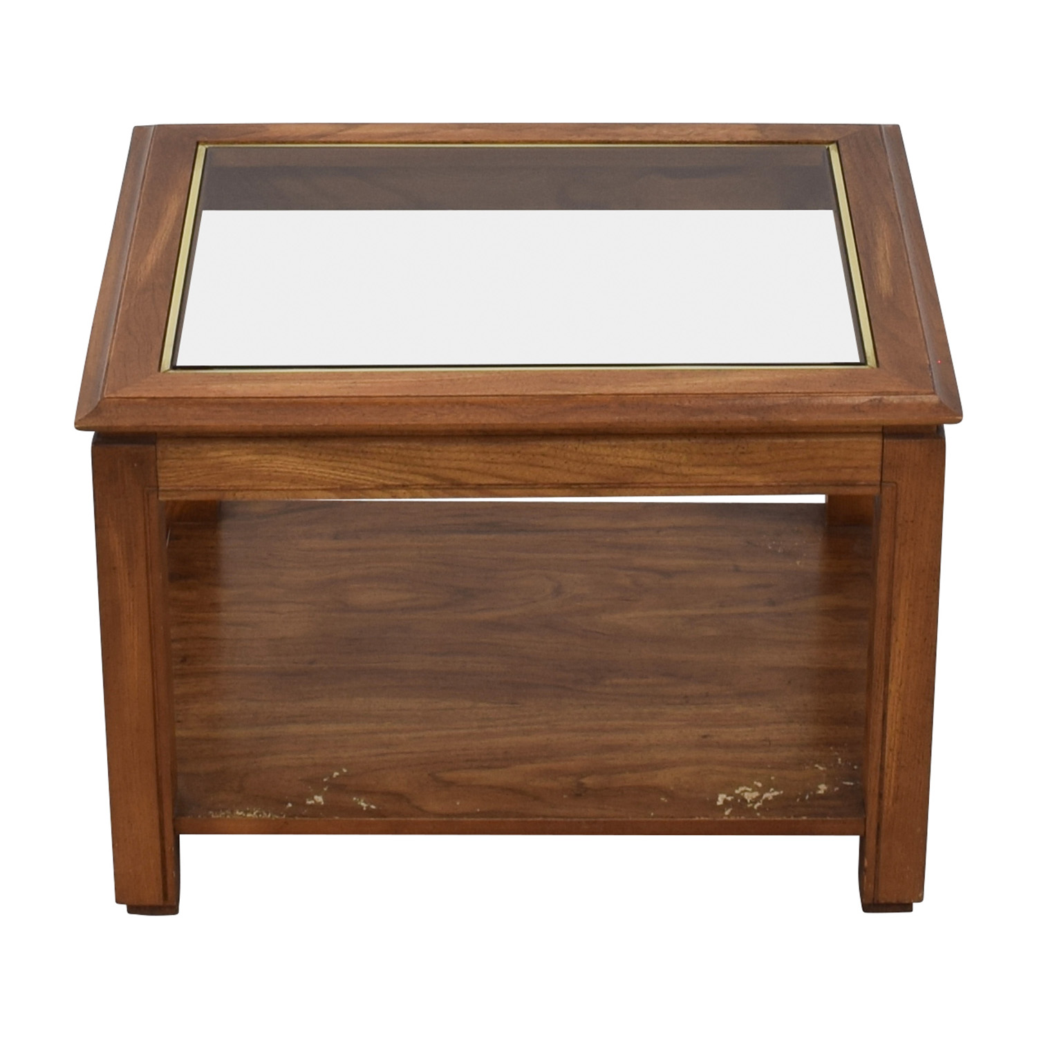Walnut and Glass Rectangular Coffee Table price