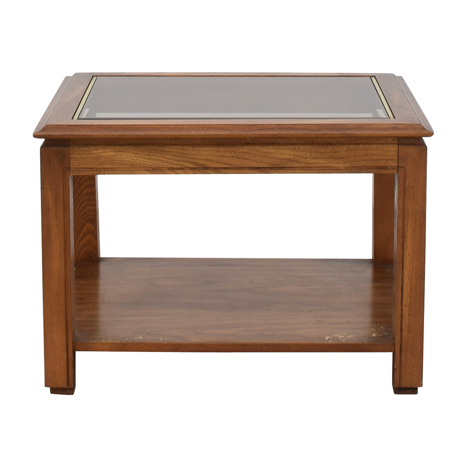 Walnut and Glass Rectangular Coffee Table dimensions