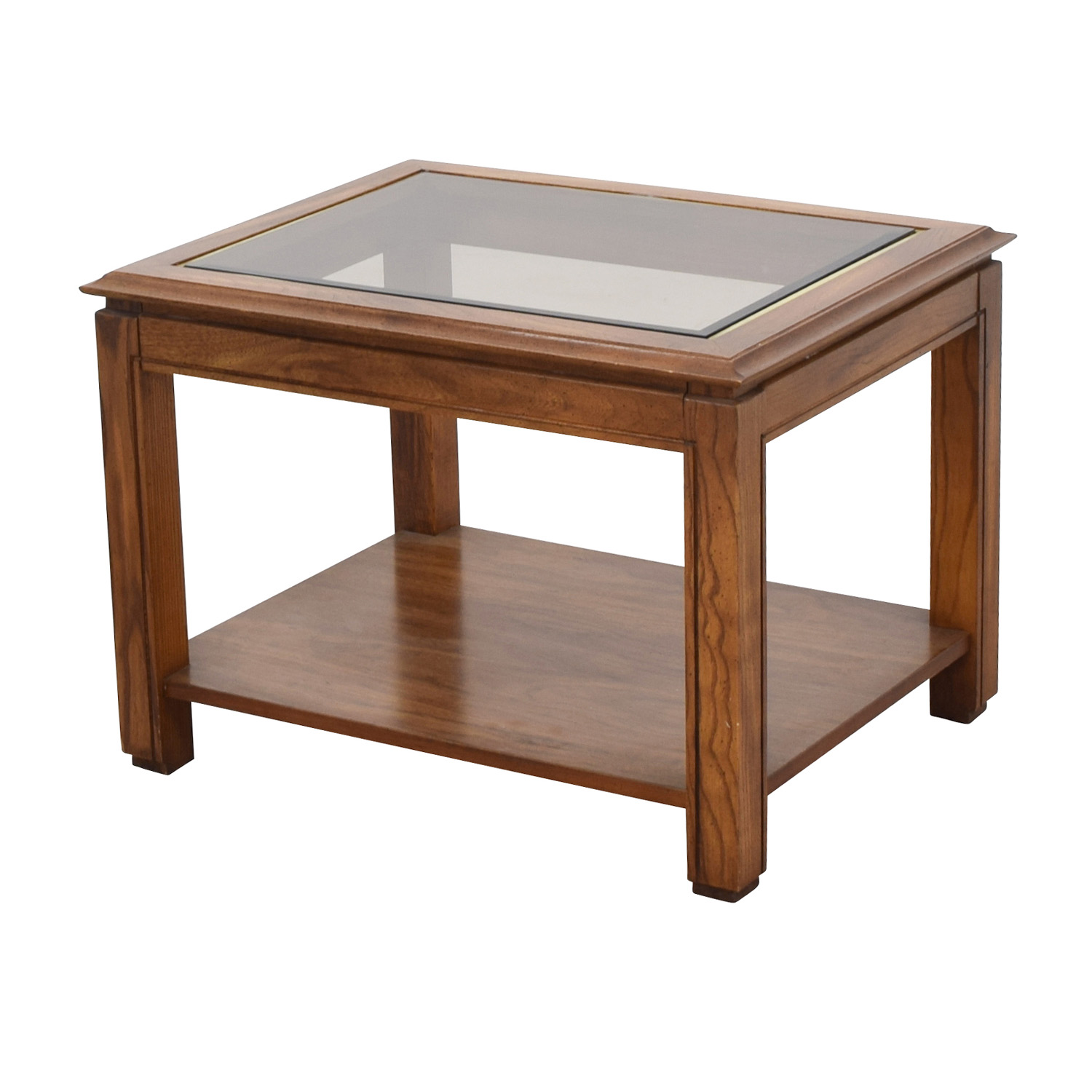 88 Off Walnut And Glass Rectangular Coffee Table Tables