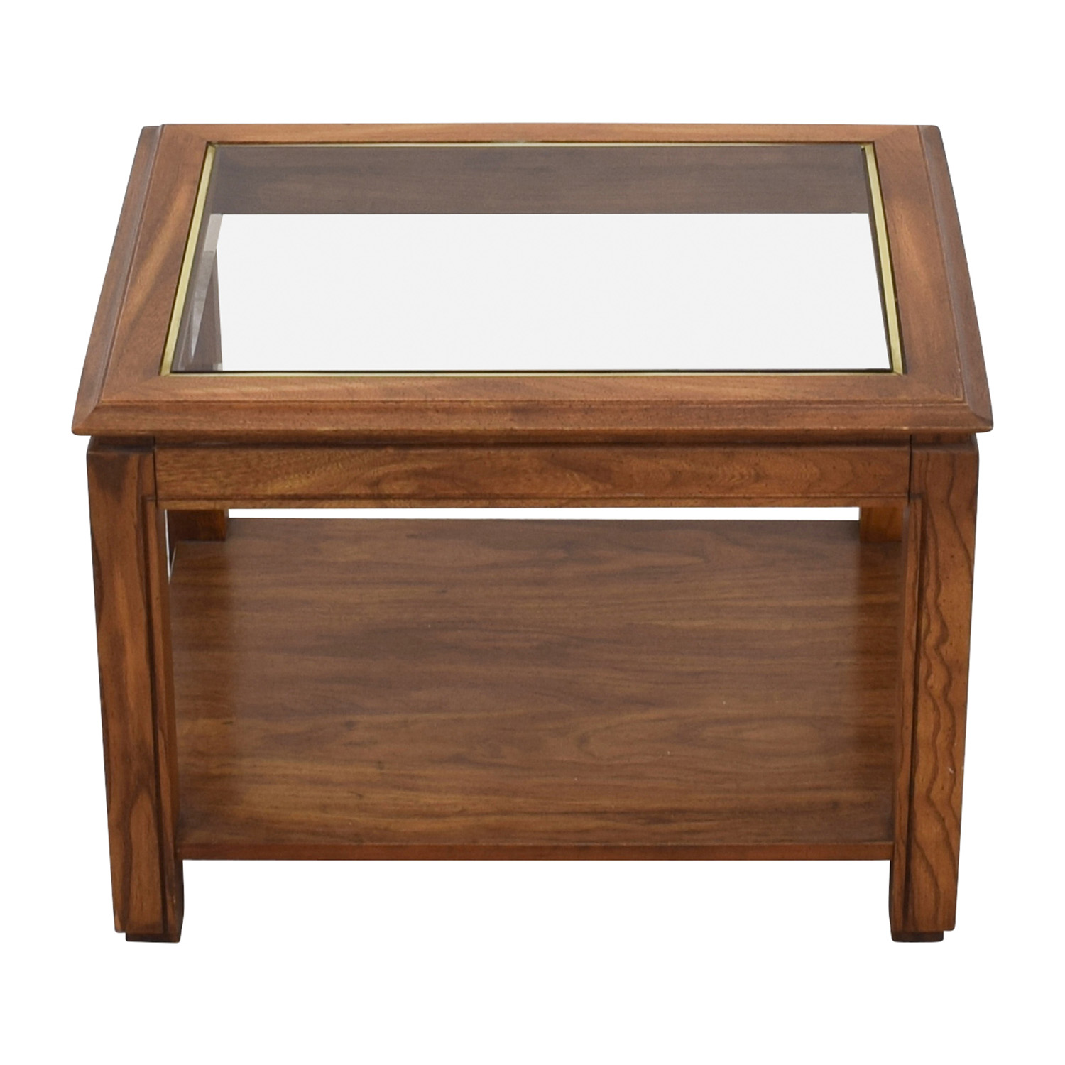 Walnut and Glass Rectangular Coffee Table