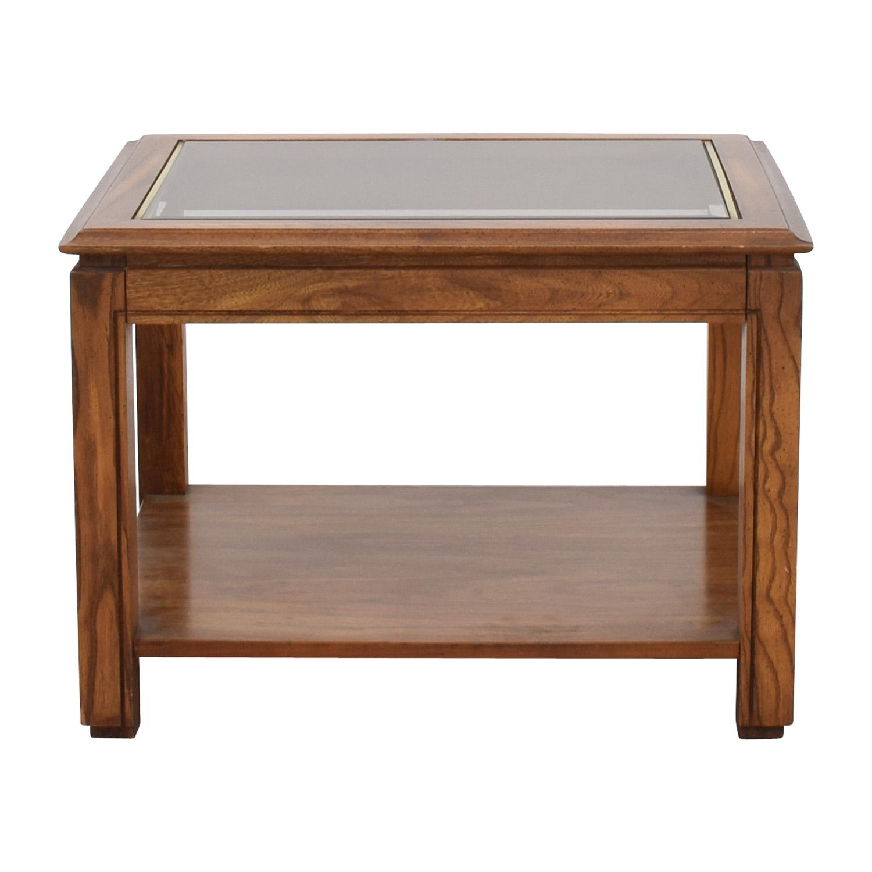 Walnut and Glass Rectangular Coffee Table nyc
