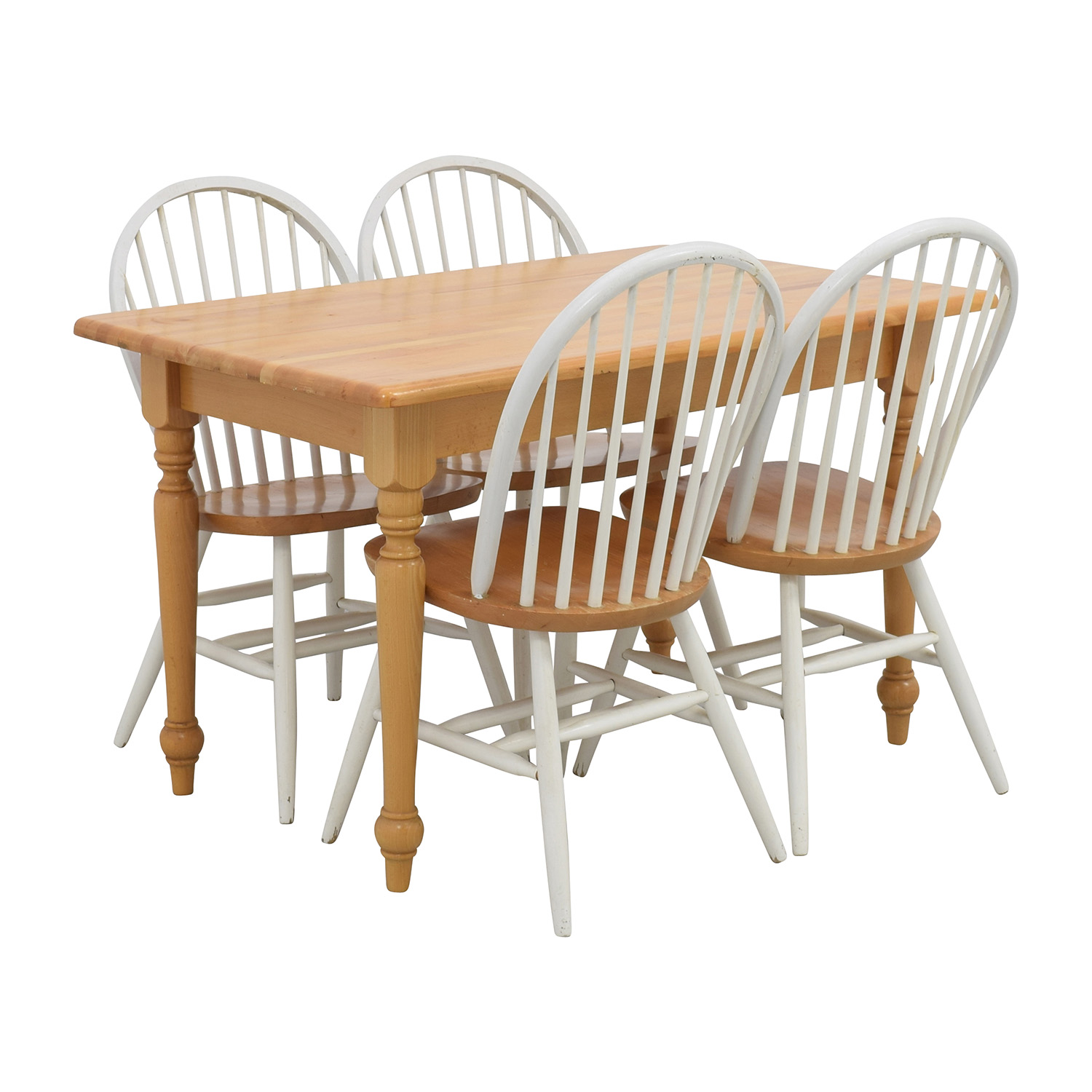 White Butcher Block Kitchen Table : 84% OFF - Butcher Block Kitchen Table and Four Chairs / Tables