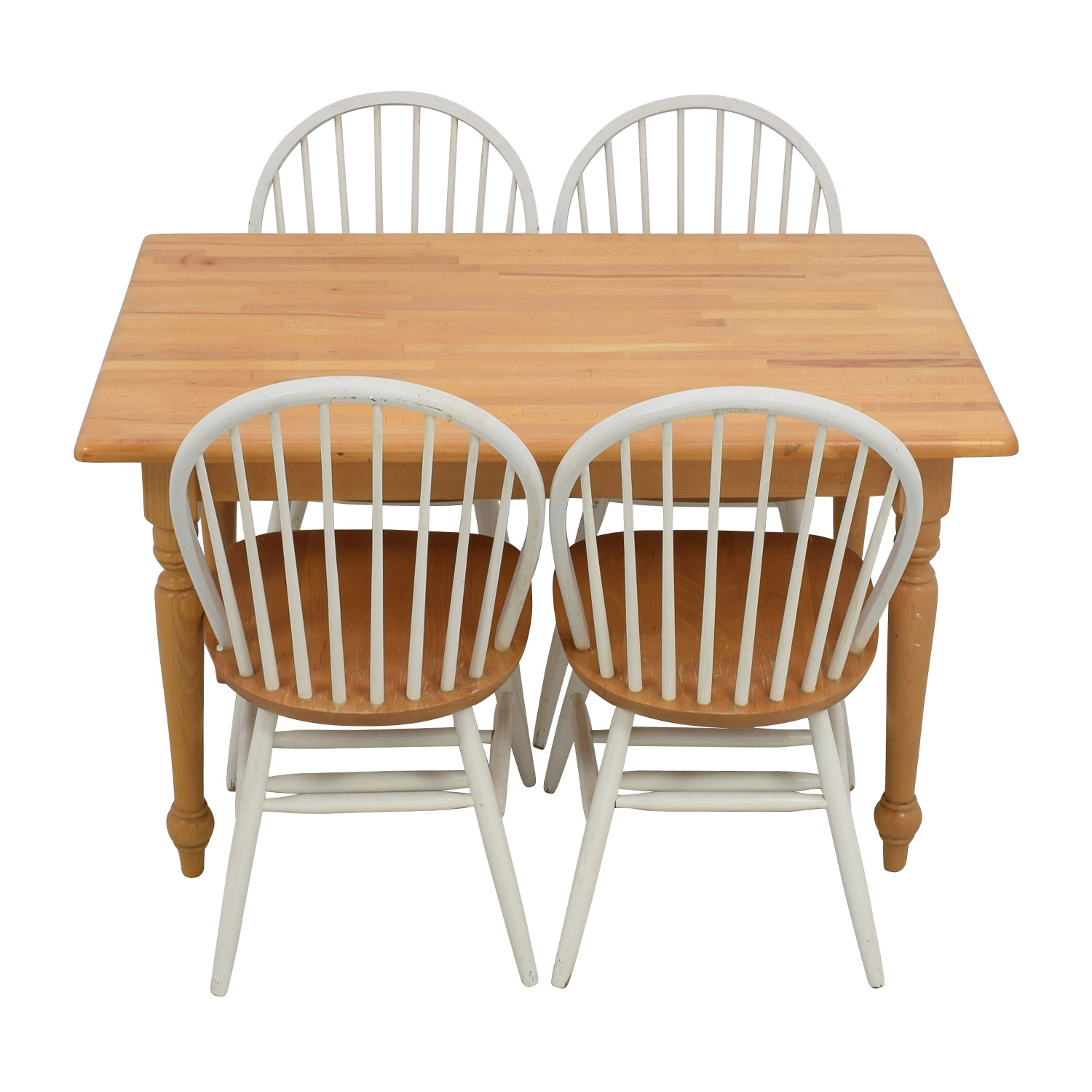 Butcher Block Kitchen Table and Four Chairs price
