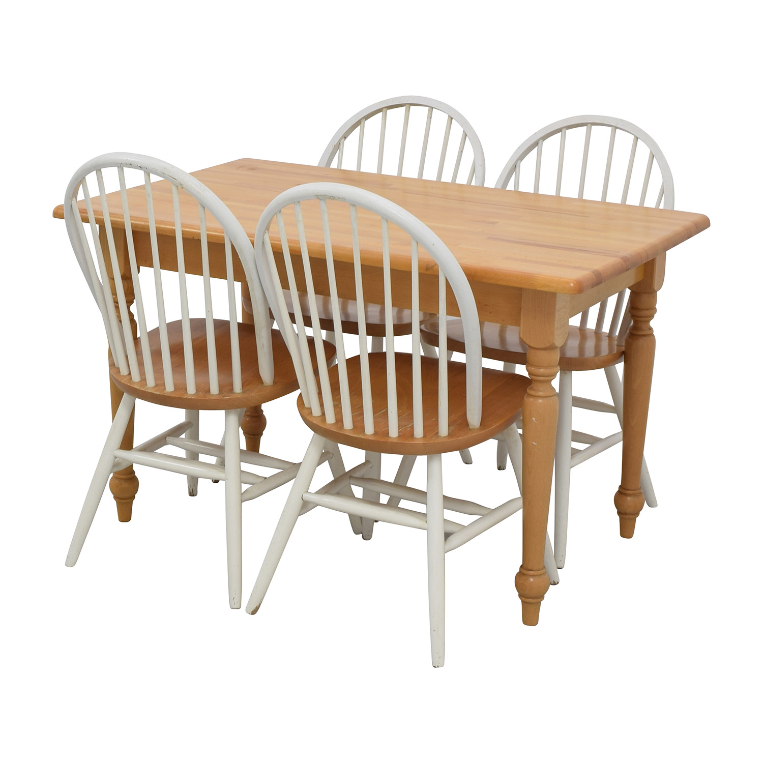 84 off butcher block kitchen table and four chairs tables for Four chair dining table set